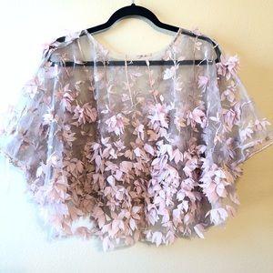 Kate Landry Jackets & Coats - Kate Landry Sheer 3D Blush Floral Cape